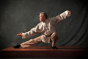 Dr. Roger Jahnke in Tai Chi Classic Pose Snake Creeps Down